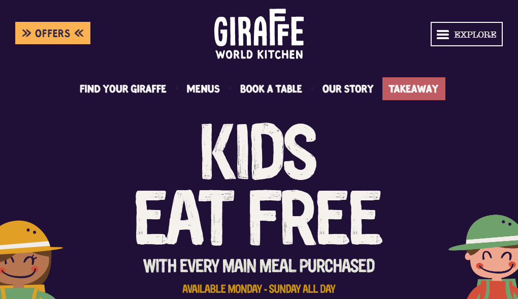 The Giraffe World Kitchen homepage.