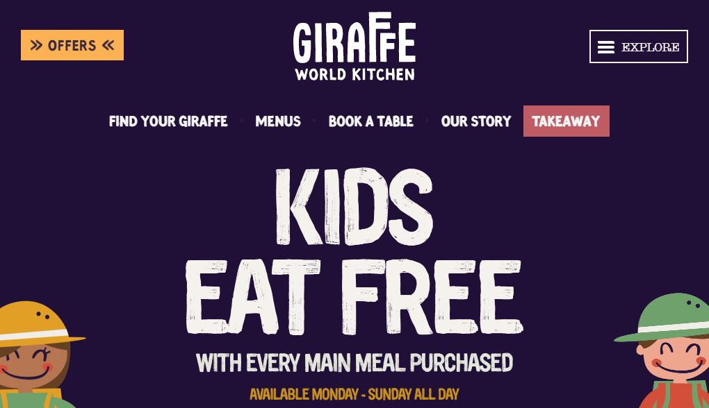 The Giraffe World Kitchen homepage.