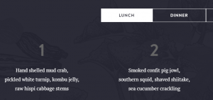 An example of a simple list menu.