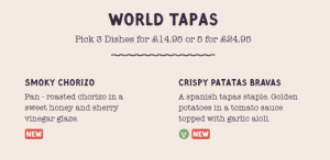 An online menu using a table format.