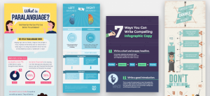 Multiple examples of infographics built using Visme.