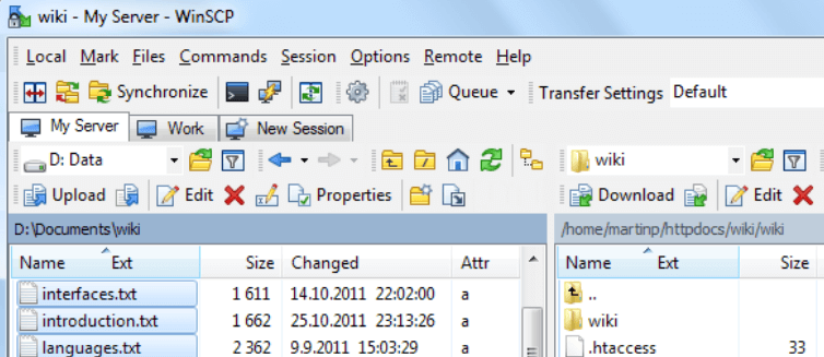 The WinSCP SSH client.
