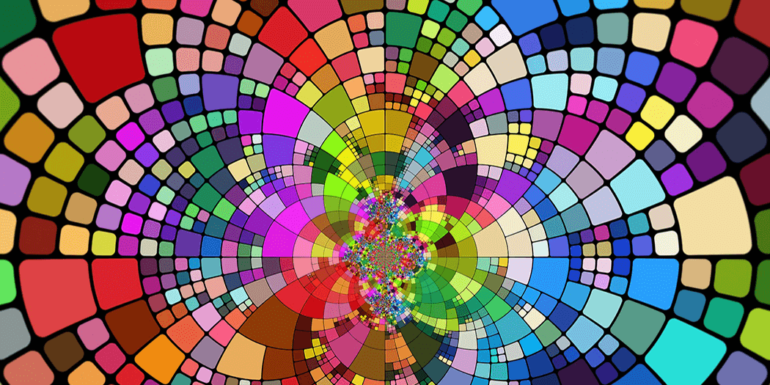 A mosaic with many colors.