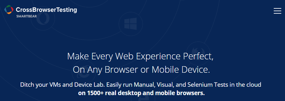 The CrossBrowserTesting homepage.