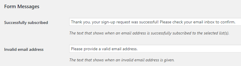 Configuring your form's messages.