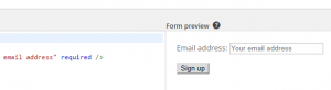 An example of a MailChimp form.