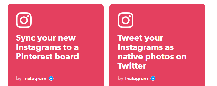 Choosing form all the available Instagram applets.