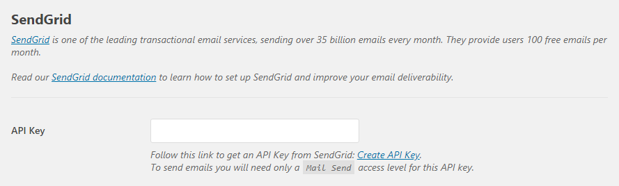 Entering your Sendgrid API key.