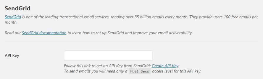 Entering your Sendgrid API key.
