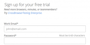 Signing up for a CrossBrowserTesting account.