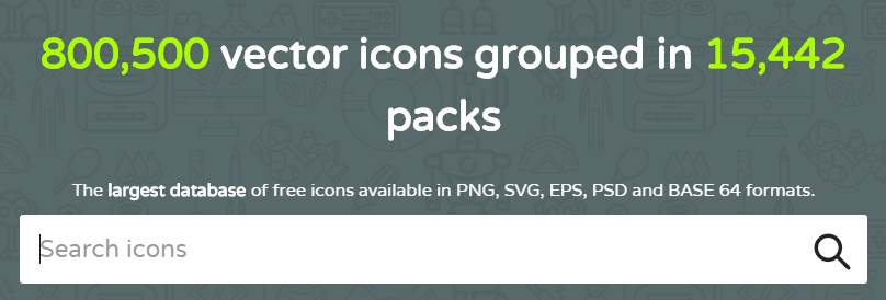 The Flaticon homepage.