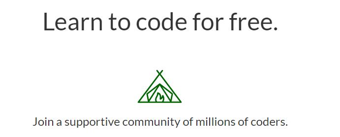 The freeCodeCamp homepage.