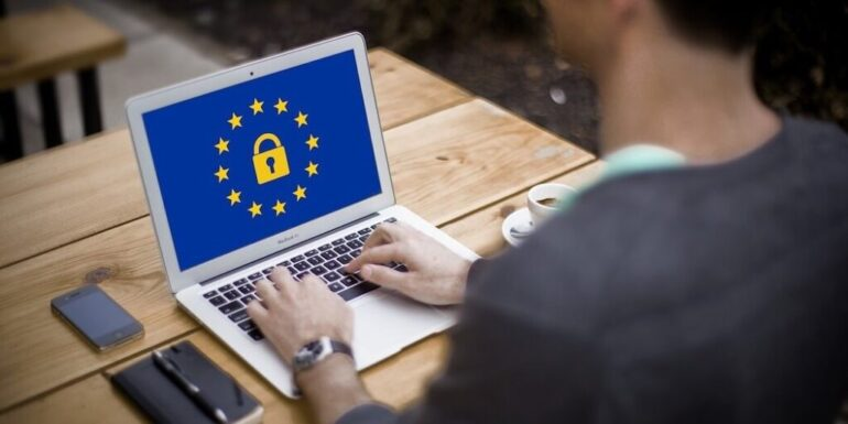 A computer with the GDPR logo.