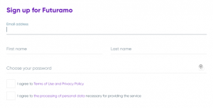 Signing up for a free Futuramo account.