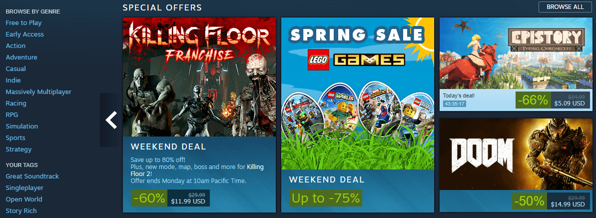 The Steam homepage.