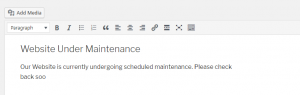 Editing your maintenance page.
