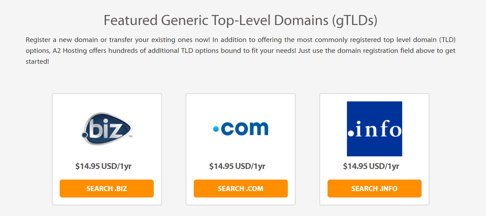A2 Hosting domain rates.