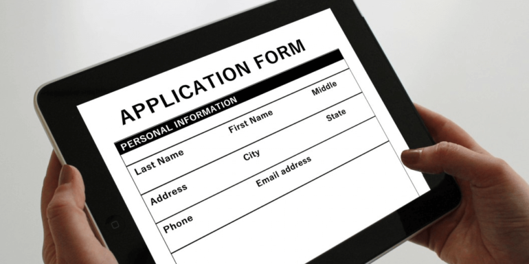 A website form on a tablet.