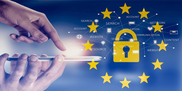 A person with a phone and the GDPR logo.