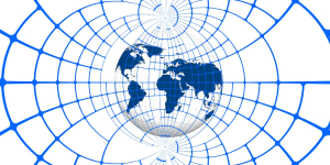 A globe overlaid with a network.
