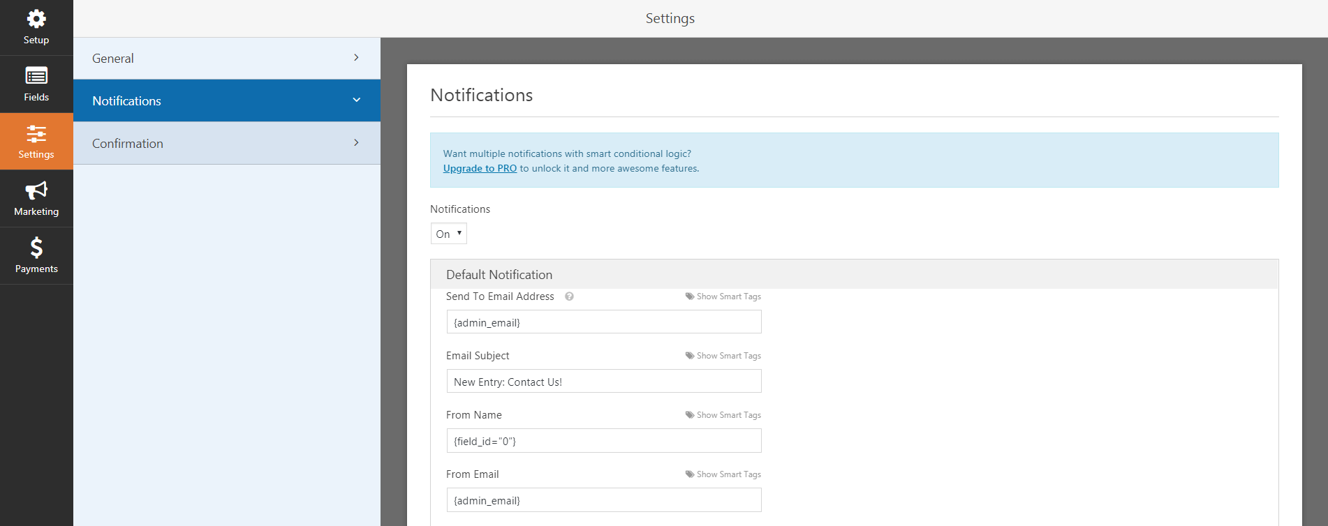 The WP Forms notifications settings.
