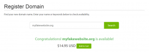 An available domain name on A2 Hosting.