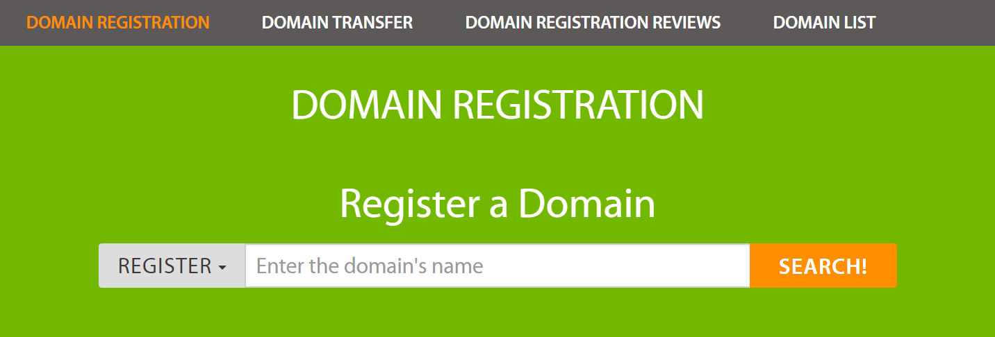 Domain registration on A2 Hosting.