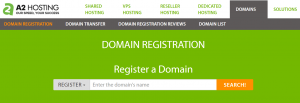 The domain name search field on A2 Hosting.