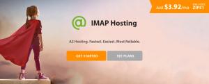 A2 Hosting's IMAP hosting page.