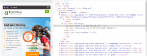 The A2 Hosting title in Chrome DevTools.