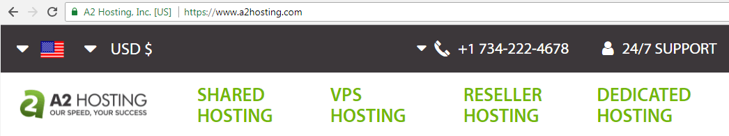 The A2 Hosting URL in a browser.