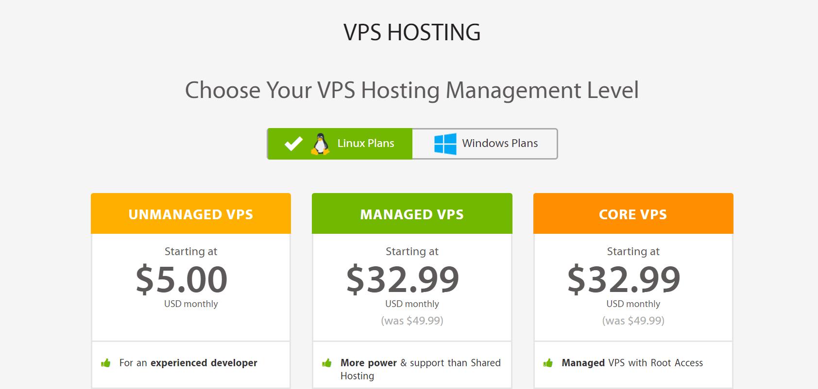 VPS hosting plans at A2 Hosting.