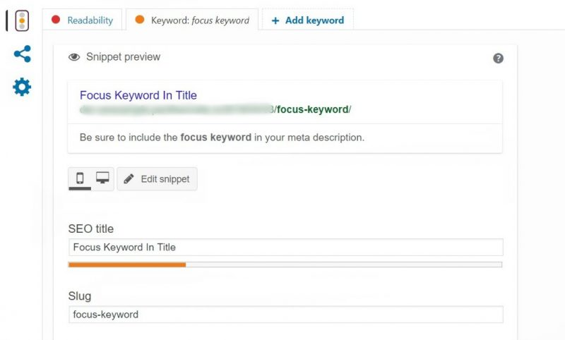 The Keyword feature in Yoast.