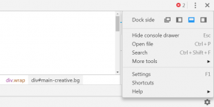 Choosing a layout in Chrome DevTools.