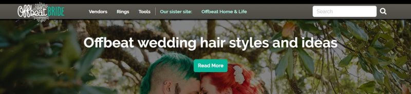 The Offbeat Bride home page.