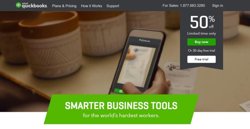 The home page for Quickbooks.