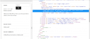 Search field code in Chrome DevTools.