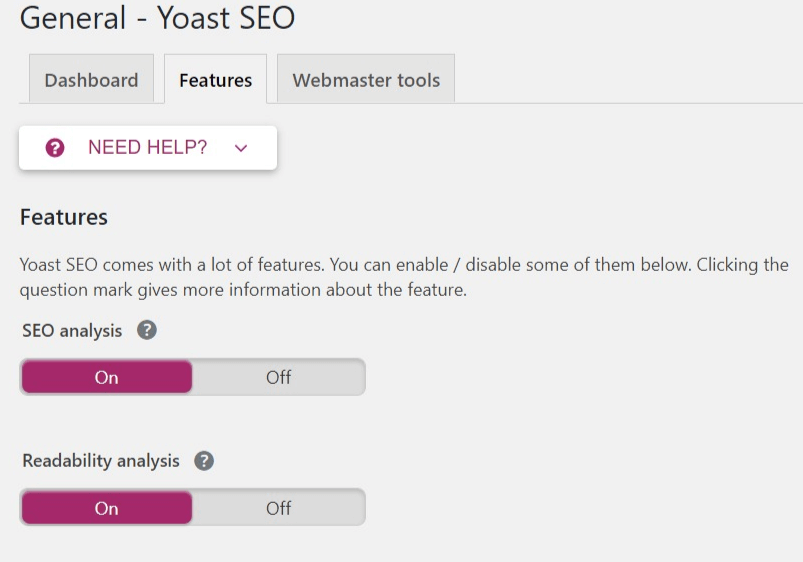 The Features section int he Yoast settings.
