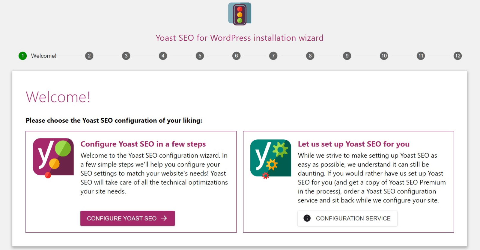 The Yoast configuration wizard.