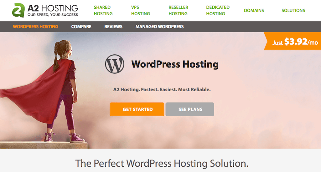 WordPress hosting plans on A2 Hosting.