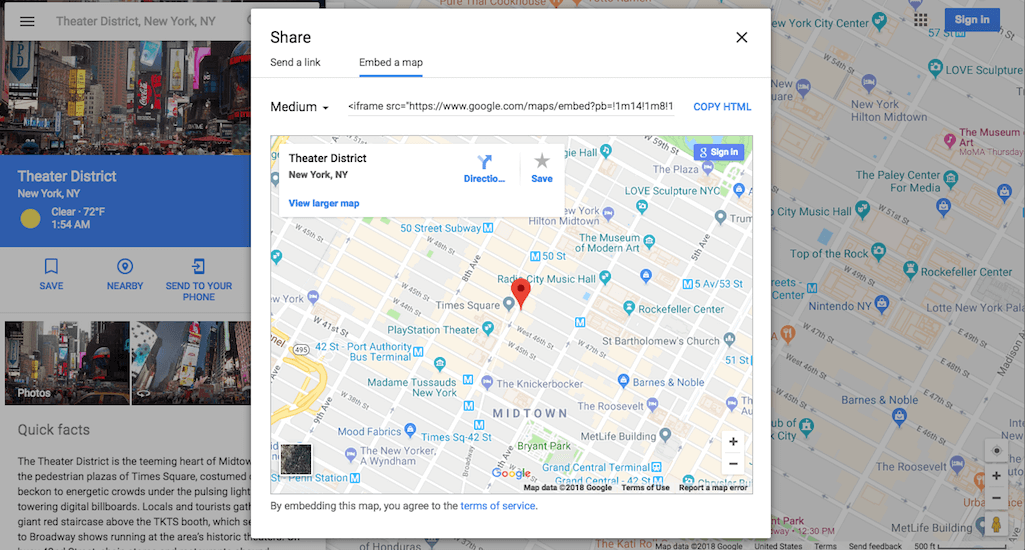 Embedding a Google Map on a website.
