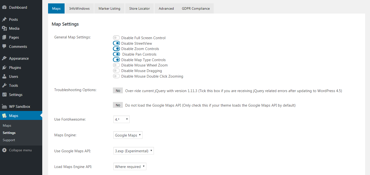 The WP Google Maps plugin settings.