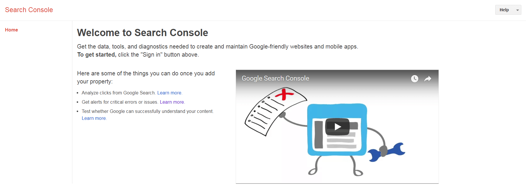 The Google Search Console website.