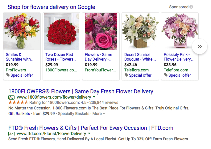 A Google search for flowers.