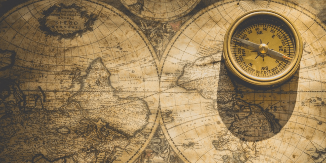An old map and compass.