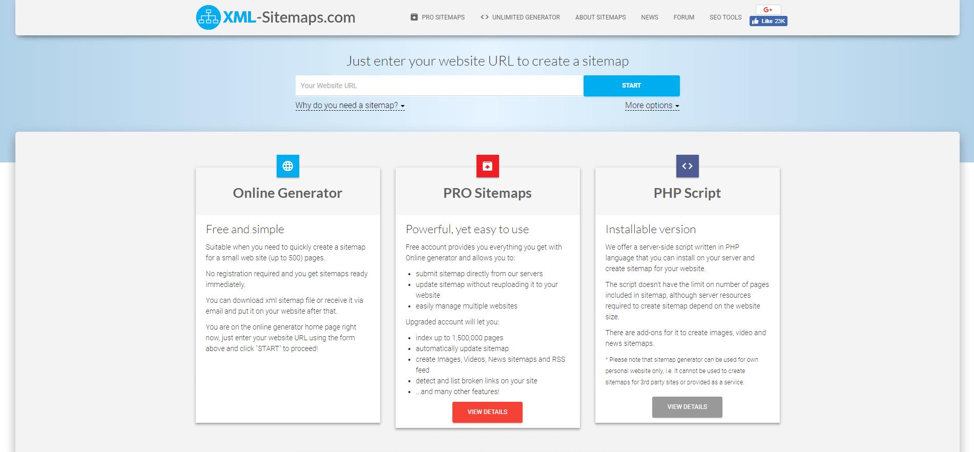 The XML-Sitemaps generator tool.