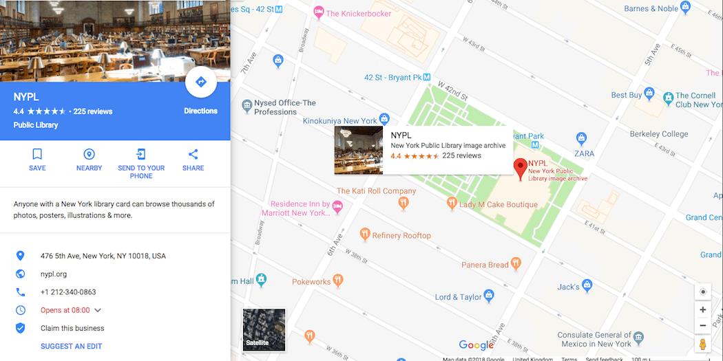 A Google map.