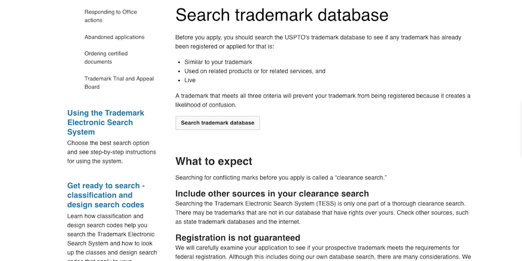 The American trademark database.