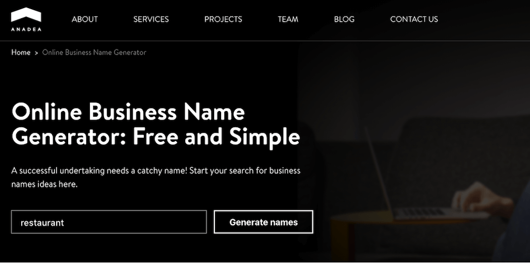 A business name generator.