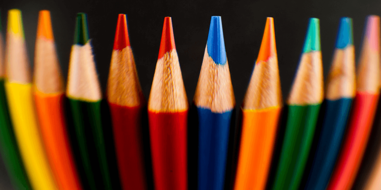 A collection of colored crayons.